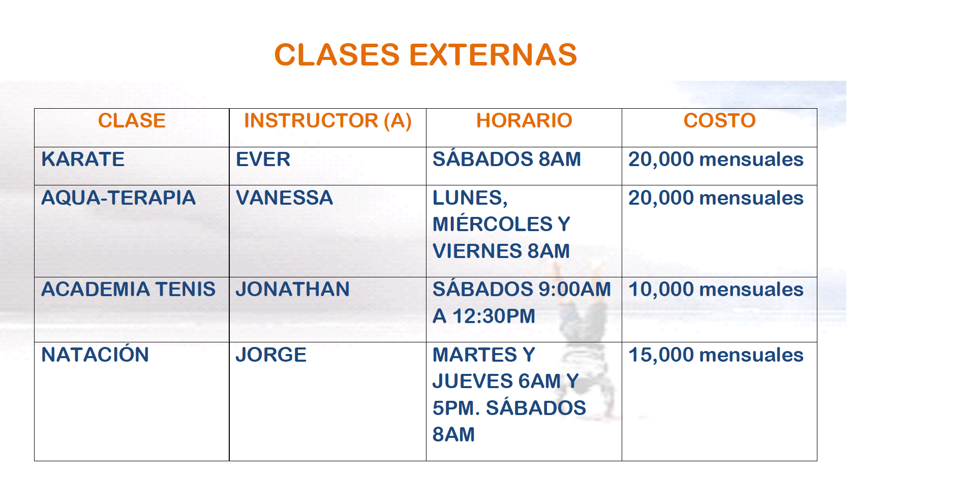 Clases Club La Guaria 2018