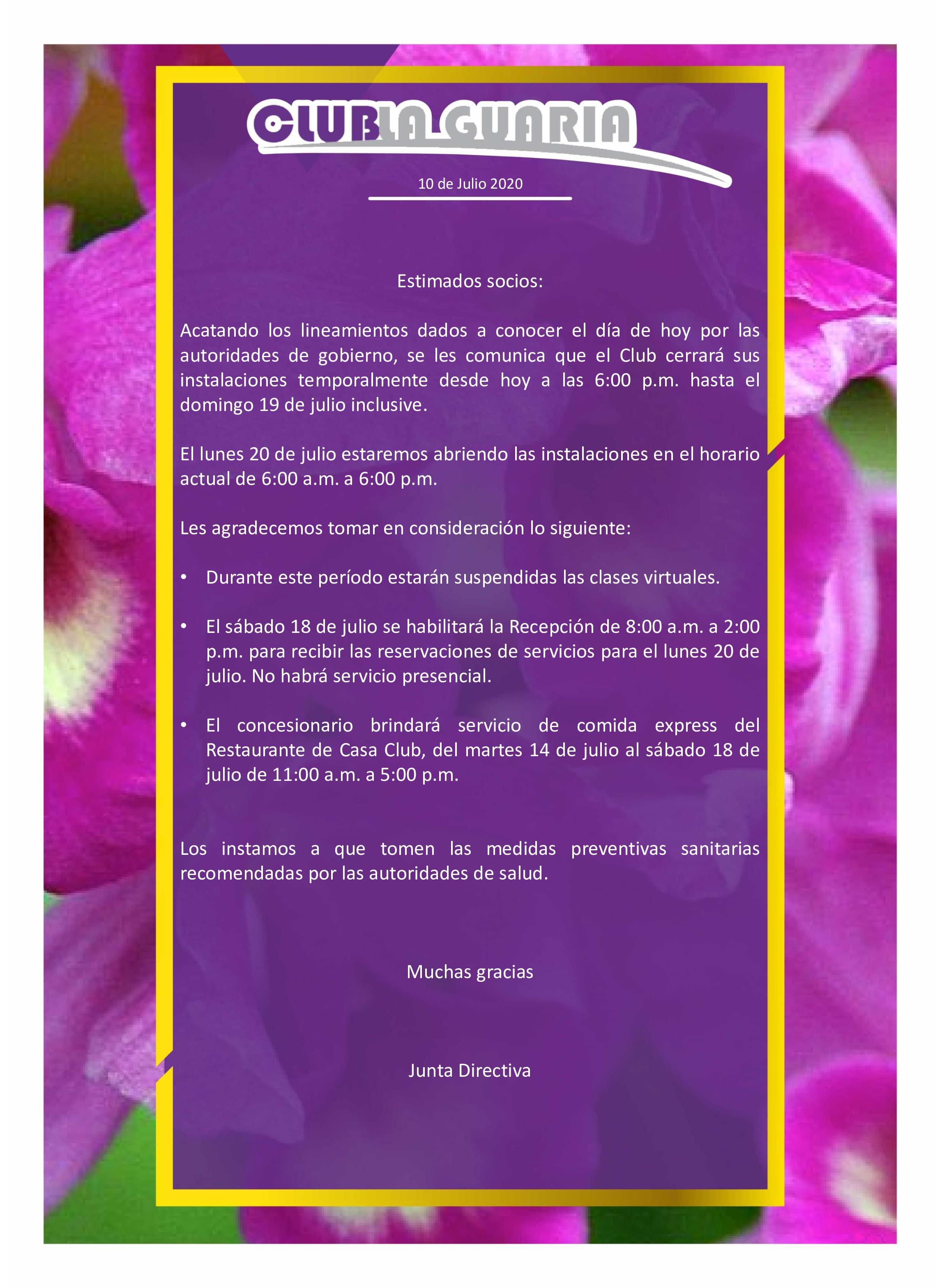 Comunicado Importante 10 de Julio 2020
