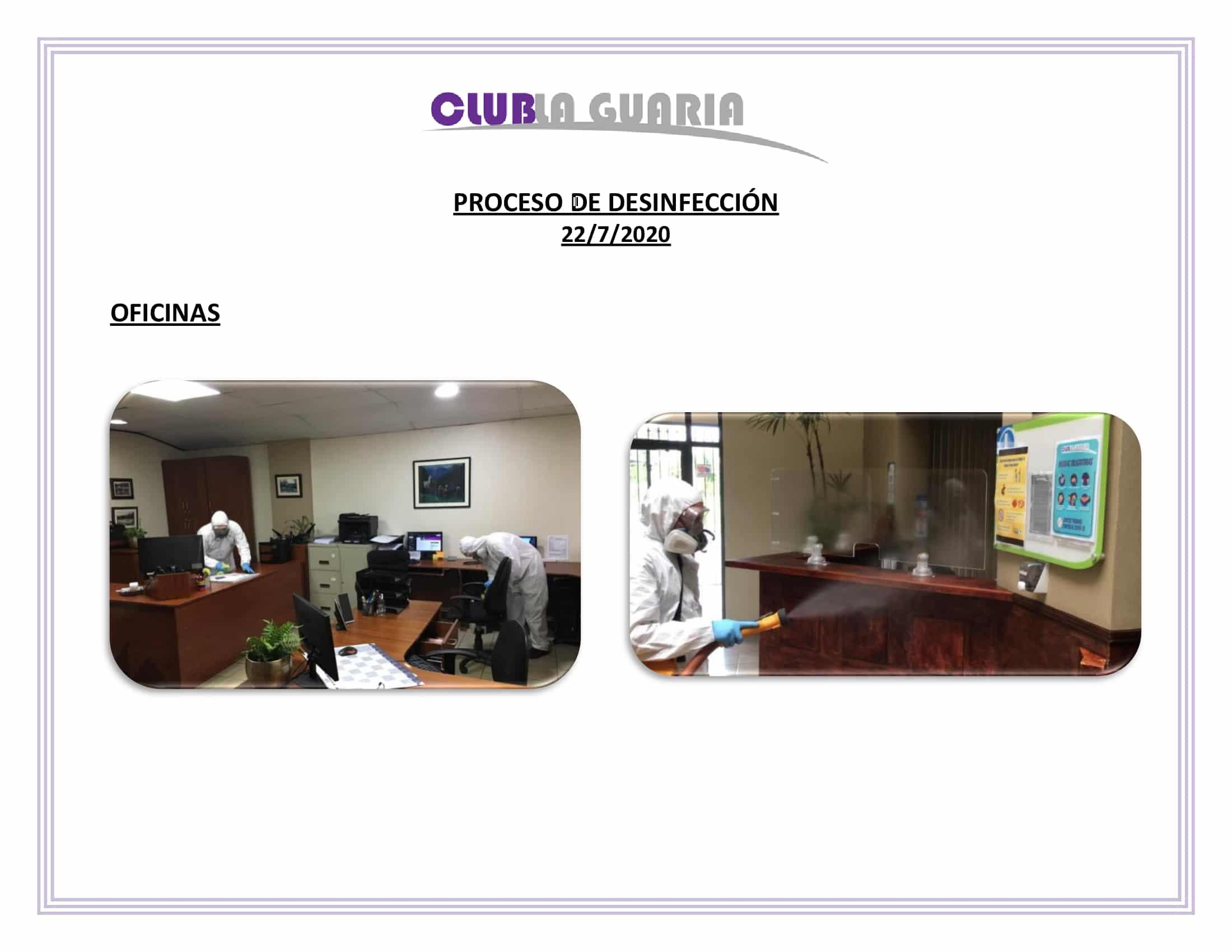 Desinfección Club La Guaria